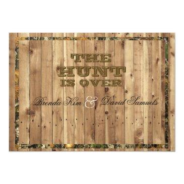 Small The Hunt Is Over Camo Wedding Invitation Front View