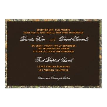 Small The Hunt Is Over Camo Wood Wedding Invitation Back View