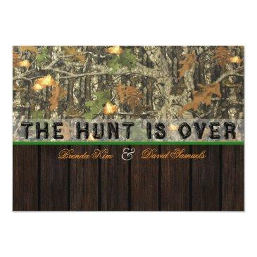 Small The Hunt Is Over Camo Wood Wedding Invitations Front View