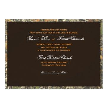 Small The Hunt Is Over Camo Wood Wedding Invitations Back View
