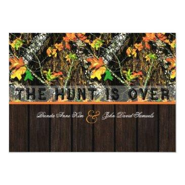 the hunt is over camo wood wedding