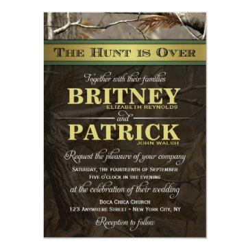 the hunt is over hunting camo wedding invitationss