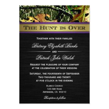 Small The Hunt Is Over Hunting Camo Wedding Invitationss Front View