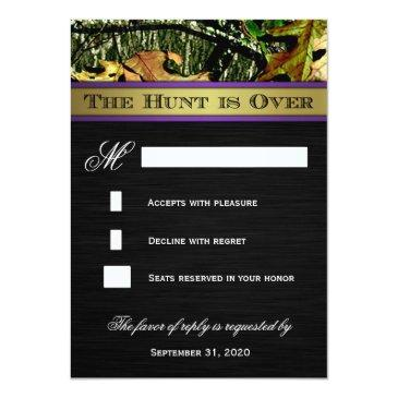 Small The Hunt Is Over Hunting Camo Wedding Rsvp Invitationss Back View