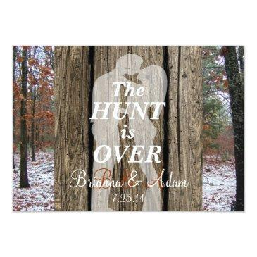 the hunt is over hunting theme wedding invite