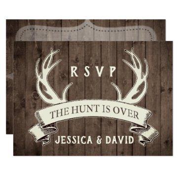 the hunt is over rustic barnwood wedding rsvp