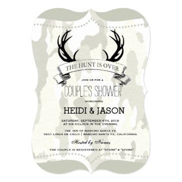 """""""the hunt is over"""" rustic camo couple's shower invitations"""