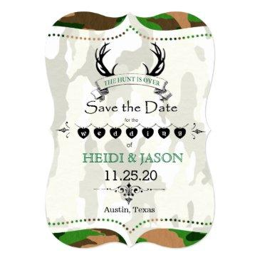 """the hunt is over"" rustic camo photo save the date"
