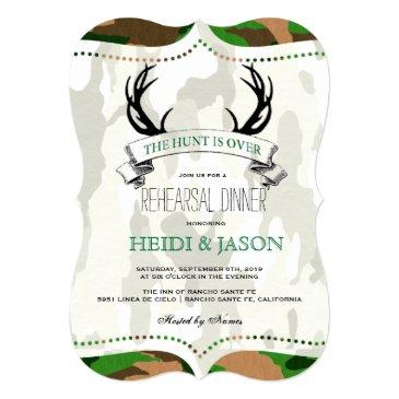 """""""the hunt is over"""" rustic camo rehearsal dinner"""