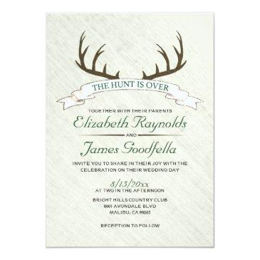 the hunt is over wedding invitationss