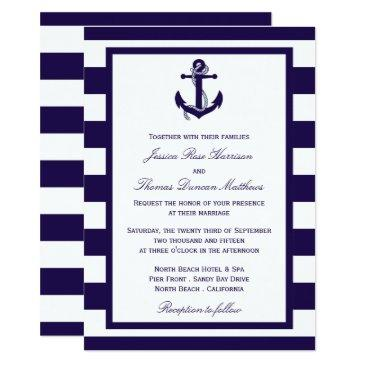 the nautical anchor navy stripe wedding collection invitations