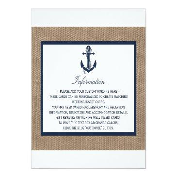 Small The Navy Anchor On Burlap Beach Wedding Collection Invitation Front View
