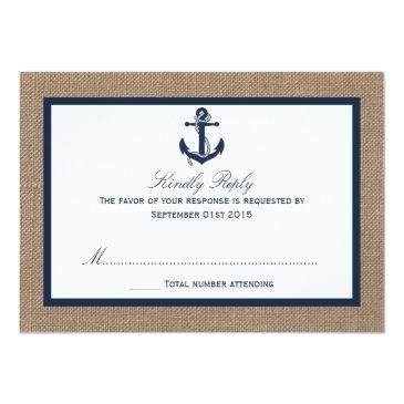 Small The Navy Anchor On Burlap Beach Wedding Collection Invitationss Front View