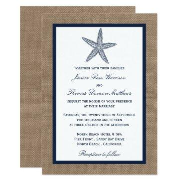 the navy starfish burlap beach wedding collection