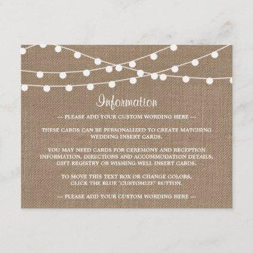 the rustic burlap string lights wedding collection enclosure