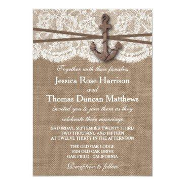 Small The Rustic Nautical Anchor Wedding Collection Invitation Front View