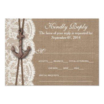 Small The Rustic Nautical Anchor Wedding Collection Rsvp Invitation Front View