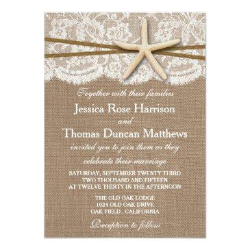 Small The Rustic Starfish Beach Wedding Collection Invitation Front View
