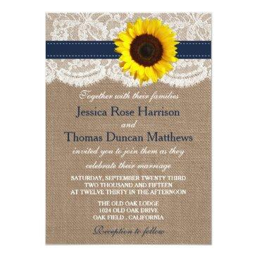 Small The Rustic Sunflower Wedding Collection - Navy Invitationss Front View