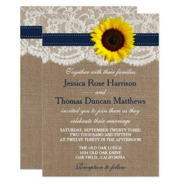 the rustic sunflower wedding collection - navy invitations