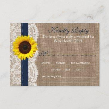 the rustic sunflower wedding collection - navy rsvp