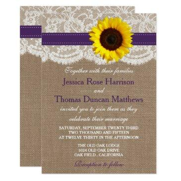 the rustic sunflower wedding collection - purple invitations