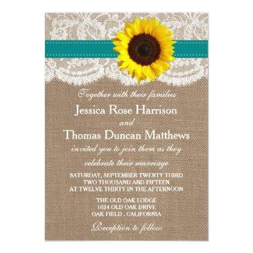 Small The Rustic Sunflower Wedding Collection - Teal Front View