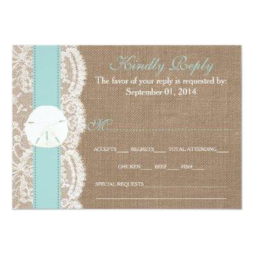 Small The Turquoise Sand Dollar Wedding Collection Rsvp Invitationss Front View
