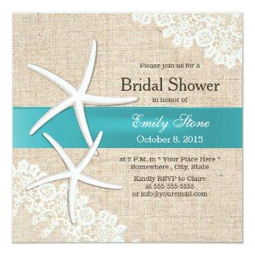 Small Tiffany Blue Starfish Lace & Burlap Bridal Shower Invitationss Front View