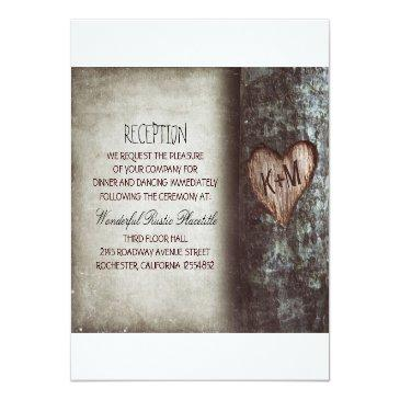 Small Tree Rustic Wedding Reception & Driving Directions Invitation Front View