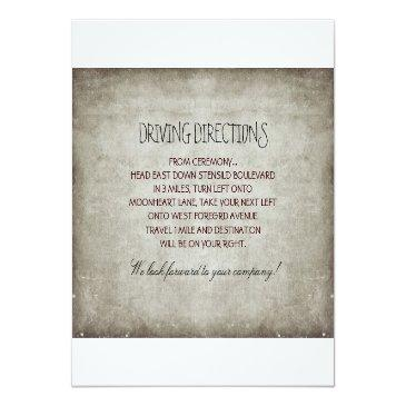 Small Tree Rustic Wedding Reception & Driving Directions Invitation Back View