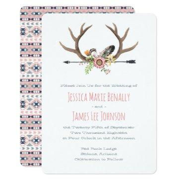 tribal arrow and antlers pink