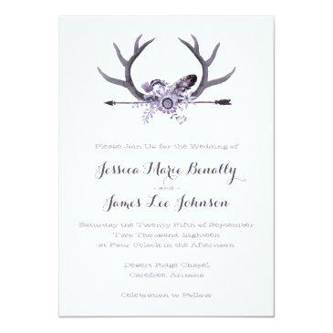 Small Tribal Arrow And Antlers Purple Invitationss Front View