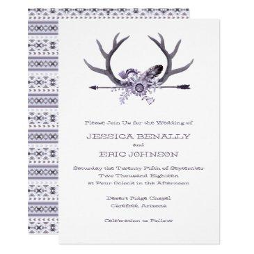 tribal arrow and antlers purple