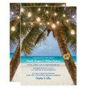 tropical beach and string lights wedding invitations