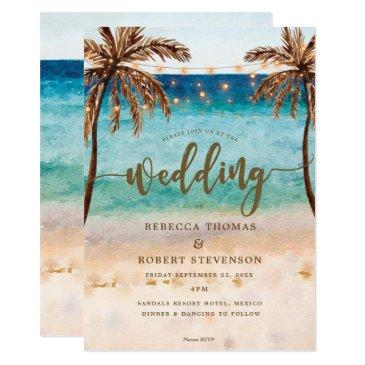 tropical beach scene modern wedding