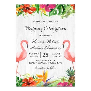 tropical floral flamingo couple wedding invitations