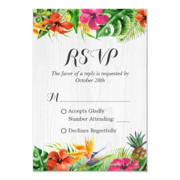 tropical floral flamingo rustic wood wedding rsvp