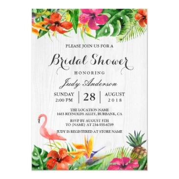 tropical floral rustic wood flamingo bridal shower