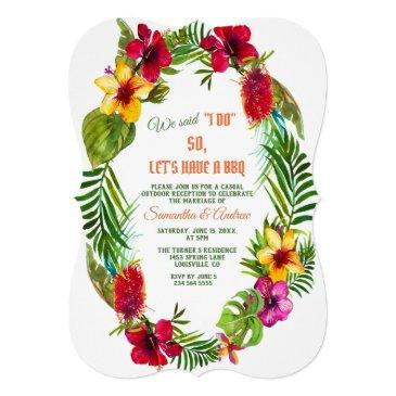 tropical floral wreath wedding i do bbq invitation