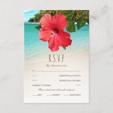 tropical hibiscus hawaiian beach themed wedding rsvp
