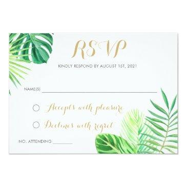 Small Tropical Palm Leaf Beach Rsvp Respond Invitation Front View