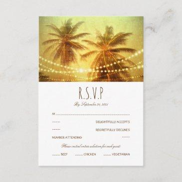 tropical palm tree string light beach wedding rsvp