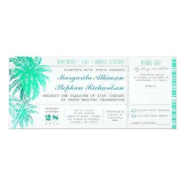 tropical teal beach wedding tickets -boarding pass