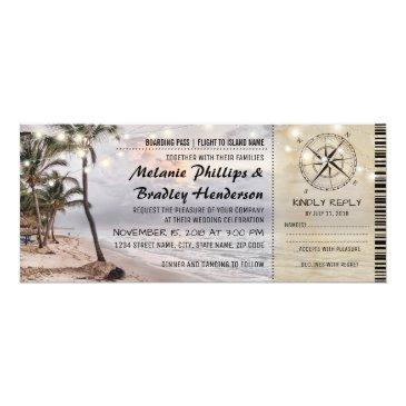 Small Tropical Vintage Beach Wedding Tickets With Rsvp Front View