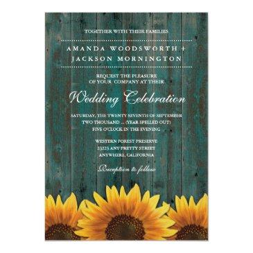 Small Turquoise And Brown Sunflower Wedding Front View