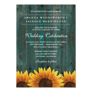 turquoise and brown sunflower wedding invitationss