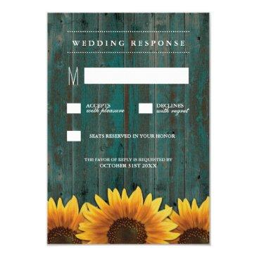 turquoise and brown sunflower wedding rsvp