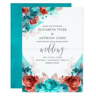 turquoise and coral rustic floral wedding