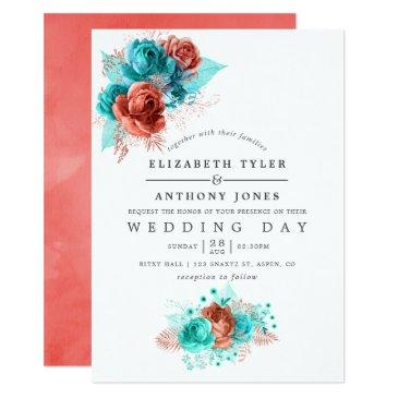 turquoise and coral watercolor floral wedding